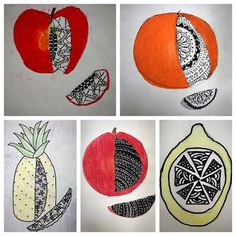 Kim & Karen: 2 Soul Sisters (Art Education Blog): Kanak Nanda - Zentangled Fruit (Sub Lesson)