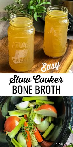 Making a Slow Cooker Chicken Bone Broth or Stock is more than a delicious and savory component to a meal. It's an incredibly healthy ingredient to always have on hand. And it doesn't get easier than with a slow cooker. Slow Cooker Chicken Bone Broth or St Bone Broth Crockpot, Slow Cooker Bone Broth, Chicken Bone Broth Recipe, Chicken Broth Recipes, Homemade Bone Broth, Beef Bone Broth, Soup Recipes, Crock Pot Chicken Stock Recipe, Crockpot Recipes