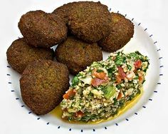 Falafel and Tabbouleh - These falafels are filled with flavor! Laurie Constantino gives you the four keys to perfect felafel. I wish I had known these things years ago! Lebanese Recipes, Raw Food Recipes, Cooking Recipes, Healthy Recipes, Healthy Cooking, Healthy Eating, Constantino, Vegetarian Entrees, Middle Eastern Recipes