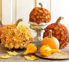 I LOVE this idea!  ~Flowered Pumpkins~