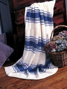Seaside Stripes Blanket. So going to make this. http://www.allfreeknitting.com/Knit-Afghans-and-Blankets/Seaside-Stripes-Blanket-from-Patons