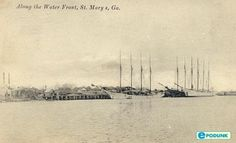 Old photo of ships on the waterfront in St. Marys, GA