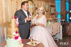 Gold & Mint Wedding Cake by Layered Bake Shopr Vibrant Mint & Pink Vintage Barn Wedding Blog - RENT MY DUST Vintage Rentals Dallas Texas ~ photo by Perez Photography