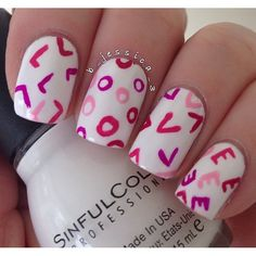 Love nails for valentines day Fancy Nails, Love Nails, Diy Nails, Pretty Nails, Style Nails, Valentine Nail Art, Holiday Nail Art, Valentines Design, Uñas Fashion