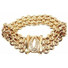 Pre-owned Cartier Penelope 18K Yellow Gold Diamond Double C 3 Row Link... ($17,000) ❤ liked on Polyvore