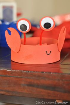 Crab party hats!!  #kidsparty #birthdayparty #boyspartyideas