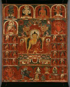 Tibetan Buddhist Thangka of Buddha and Disciples, West Tibet, Century Tibetan Mandala, Tibetan Art, Tibetan Buddhism, Dalai Lama, Southeast Asian Arts, Vajrayana Buddhism, Thangka Painting, Buddhist Traditions, Buddha Art
