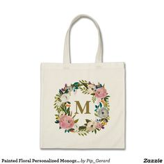 Draw Cats Painted Floral Personalized Monogram Canvas Bag - Shop Painted Floral Personalized Monogram Canvas Bag created by Pip_Gerard. Personalize it with photos Custom Tote Bags, Personalized Tote Bags, Wedding Survival Kits, Monogram Canvas, Floral Watercolor, Watercolour, Canvas Tote Bags, Just For You, Gifts