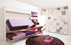 Bedroom, Brown Round Fur Rug White Table Lamp Pink Desk Unique Walk Of Closet Folding Purple Beds Porcelain Floor Stainless Steel Armchair Stair And White Celling ~ Wonderful Transformable Furniture in a Kids Room to Save Space
