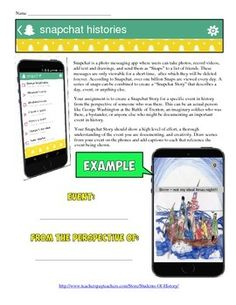 This fun project combines the app almost all of your students are obsessed with - Snapchat - with a great activity that works for almost any event you might cover in history!