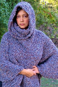 Simply Collectible's Free Cowl Hooded Poncho #crochet pattern | You may never need another Cowl Poncho. Makes for girls, teens, women, and plus sizes
