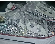 4dbe2c41eb6d mint converse all star sneakers with crystal AB rhinestones and ribbon laces