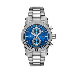 550fc9034b0 Shop for JBW Strider Men s Stainless Steel Blue Dial Diamond Accented Bezel  Watch. Get free delivery at Overstock - Your Online Watches Store!