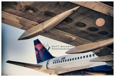 Aviation Photography, Delta Airlines 757 Wing and Tail, Metallic Photographic Print
