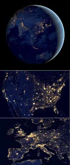 The Earth At Night - photos by NASA. See the video here… Earth And Space, Planet Earth From Space, Cosmos, Earth At Night, Eclipse Solar, Space And Astronomy, Nasa Space, Night Photos, To Infinity And Beyond