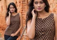 Indo Western for women - Kalamkari Top Rustic Rhymes by Sini - PC - 10009 - Main