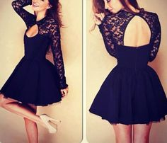 Black Lace Stitching Dress RT04NG