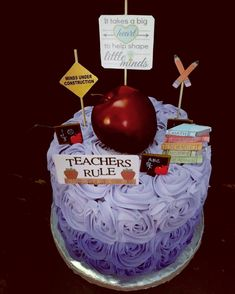 Teacher themed Happy Birthday Cake