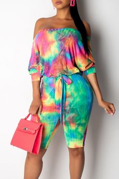 Lovely Casual Off The Shoulder Tie-dye Printed Croci One-piece Romper Wholesale Clothing Online Store. We Offer Top Good Quality Cheap Clothes For Women And Men Clothing Wholesaler, # Jumpsuits For Women, Blouses For Women, Rompers Women, Cheap Dresses Online, Tie Dye Outfits, Wholesale Clothing, Shoes Wholesale, Fashion Outfits, Teen Fashion