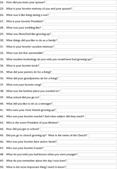 Interview Questions to Ask Grandparents, page 2 Memoir Writing, Journal Writing Prompts, Interview Questions To Ask, Journal Questions, Family History Book, Personal History, Family Memories, Making Memories, Family Genealogy