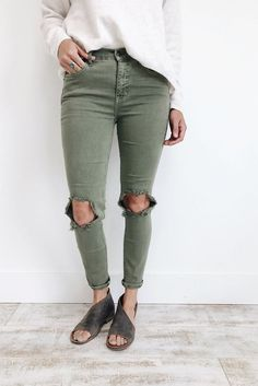 Free People Busted Skinny Jean in Army