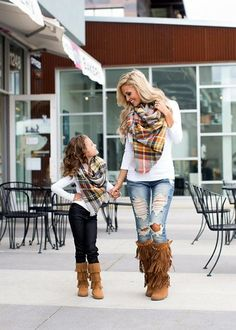 Mommy and Me Perfect For Fall Oversized Blanket Scarf Gray - Ryleigh Rue Clothing by Modern Vintage Boutique Mother Daughter Outfits, Mommy And Me Outfits, Mom Daughter, Cute Outfits, Mother Daughters, Picture Outfits, Mother Daughter Pictures, Look Fashion, Kids Fashion
