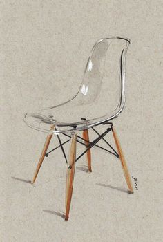 Image of Transparent Eames Side Chair sketch LIMITED EDITION of 20 prints - design sketches tutorials Interior Design Sketches, Industrial Design Sketch, Sketch Design, Interior Rendering, Chair Design, Furniture Design, Home Decor Furniture, Furniture Sketches, Furniture Chairs