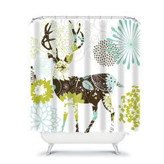 Shower Curtain Floral Buck Deer by FolkandFunky on Etsy
