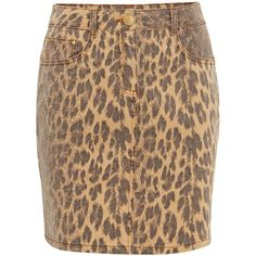 Damsel in a Dress Alexia Leopard Print Denim Skirt ($98) ❤ liked on Polyvore featuring skirts, women skirts, leopard print skirt, brown skirt, leopard skirt, knee length summer skirts and knee length denim skirt
