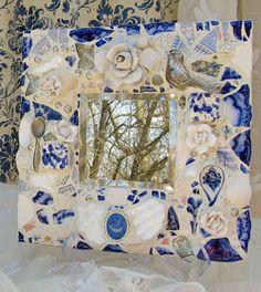 Blue Willow Pique Assiette Mosaic Mirror