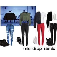 Outfit Inspiration: mic drop inspired Shop this awesome look on Fashmates. Korean Fashion Kpop Inspired Outfits, Bts Inspired Outfits, Kpop Fashion Outfits, Stage Outfits, Edgy Outfits, Dance Outfits, Cute Casual Outfits, Korean Outfits Kpop, Party Outfits