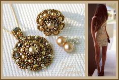 Beading - accommodation: pendant Swarovski Vintage Gold beads earrings, rings and pendants.
