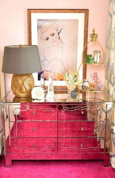 gorgeous vanity; love the art and the perfume stand!