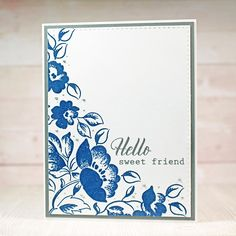 Niki: Altenew Frosted Garden Stamp Set; heat embossing; Ranger embossing powders--Navy and Silver; Nuvo Crystal Drops--Silver Lining
