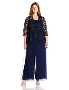 Emma Street Womens Plus Size Lace Pant Suit Combo Navy 14W >>> For more information, visit image link.