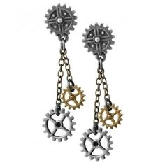 Machine Head Steampunk Gear Earrings - New at GothicPlus.com Price: $52.00  Gears of intellectual industry turn inexorably on either side of the centre of cognition. A pair of small antiqued pewter gear wheel studs with fine bronzed chains suspending two further smaller two-tone cogs; on surgical steel ear-wires.  Earrings are about 2 inches high overall.  #gothic #fashion #steampunk