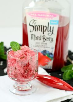 3 ingredient Berry Mint Granita with Rum - a refreshing summer treat! Get the easy recipe on RachelCooks.com!