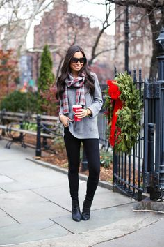 Grey And Red Plaid Scarf