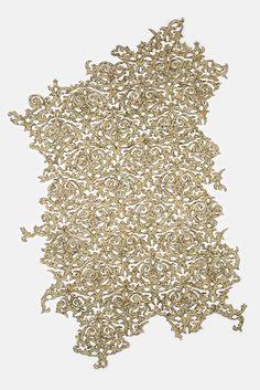 """Brokeade"" Shredded money, thread, 37 x 25 inches, 2016 By Lisa Kokin"