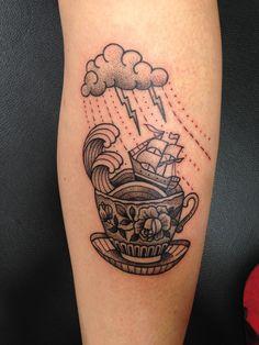Dotwork ship on a storm in a teacup by Susanne König at Salon Serpent; Amsterdam, Netherlands.