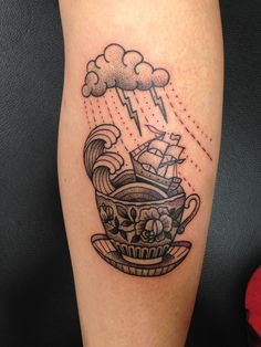 Dotwork ship on a storm in a teacup by Susanne König at Salon Serpent; Amsterdam, Netherlands.