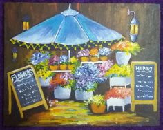 """Flower Market"" painted by Simran   this charming scene is one of the newest video acrylic lessons on Ginger Cook Live on YouTube.https://youtu.be/a81IBm95ZR4"