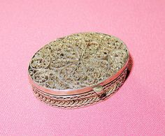 Your place to buy and sell all things handmade Box Hinges, Metal Bowl, Sterling Silver Filigree, Pill Boxes, Vinaigrette, Israel, Great Gifts, Antiques, Vintage