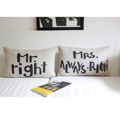 Creative Mr Right/Mrs Always Lumbar Pillow Case, Wedding Cushion Cover, Pillow Case as Wedding Gifts via Etsy