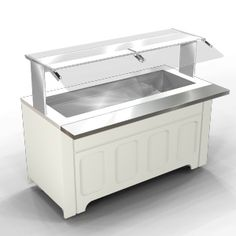 """Ice Cooled Cold Pan For Canned & Bottled Beverages, 5"""" Deep, NSF2, 64.5"""", Pewter Tan, MateLock Ends, Double Sided Angled Pan Display Canopy, Breath Shield, Lighted, 8"""" Plate Rests On Front & Rear"""