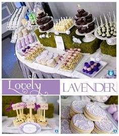 """lovely lavender - beautiful dessert station by sweetsindeed on the pizzazerie blog, using my """"eat me""""toppers!"""