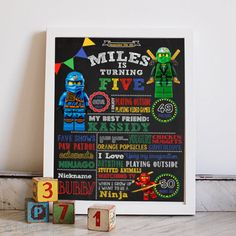 LEGO theme Birthday Chalkboard Poster Sign for by PhiloDesignz