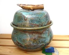 Lidded Jar with Twig Handle - Wheel Thrown Pottery - Stoneware.
