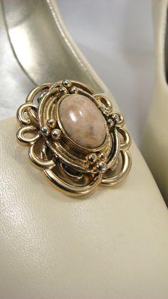 Gold Filigree Shoe Clips Upcycled Cabachon Shoe Jewelry. $14.00, via Etsy.