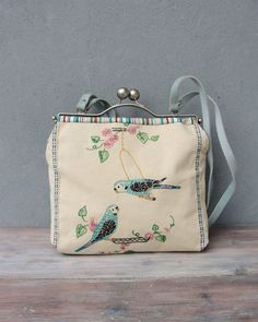 Parakeets Bird Bag  Romantic Birds Vintage Embroidery by StarBags
